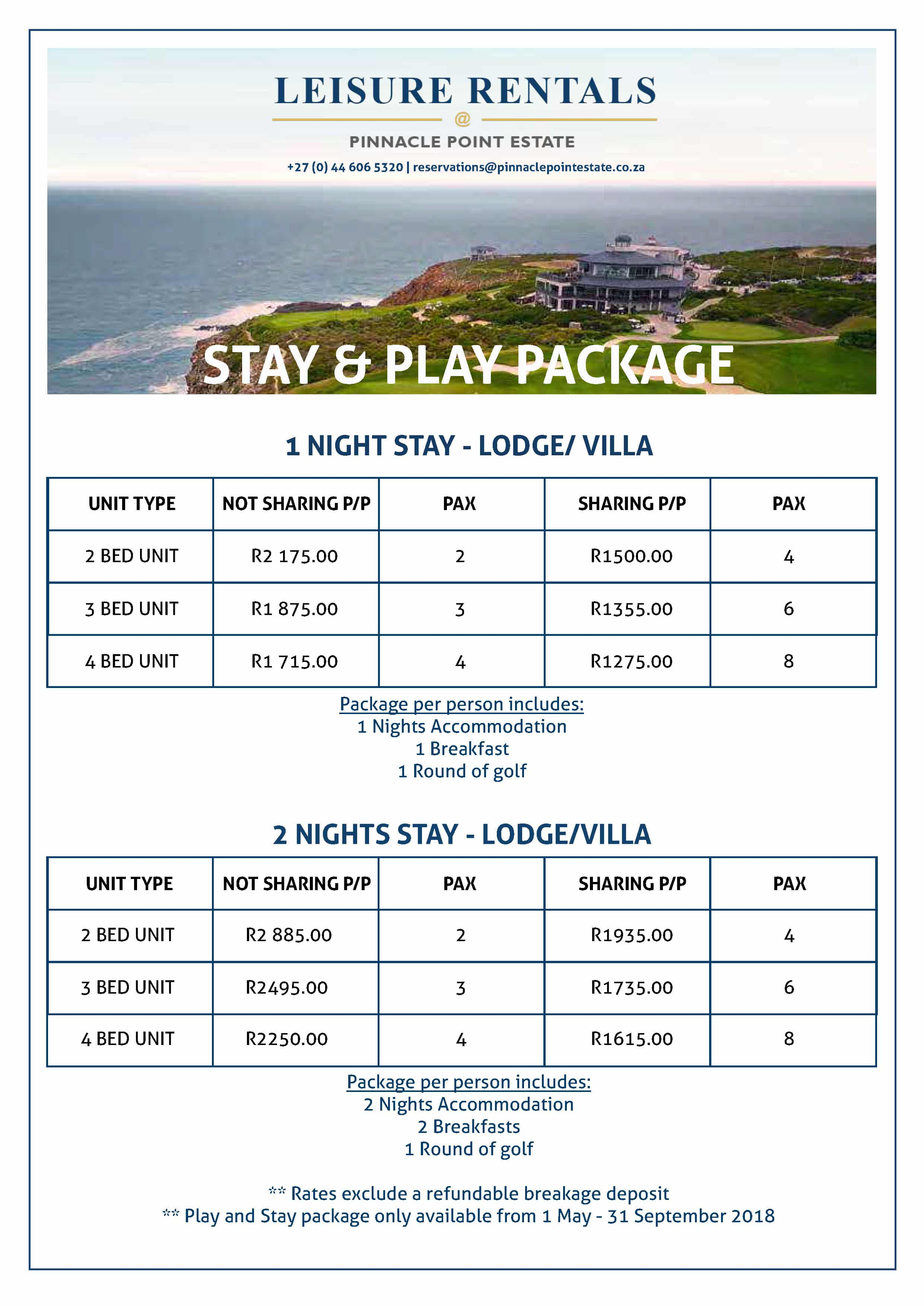 2018 Leisure Rentals Packages - Page 1