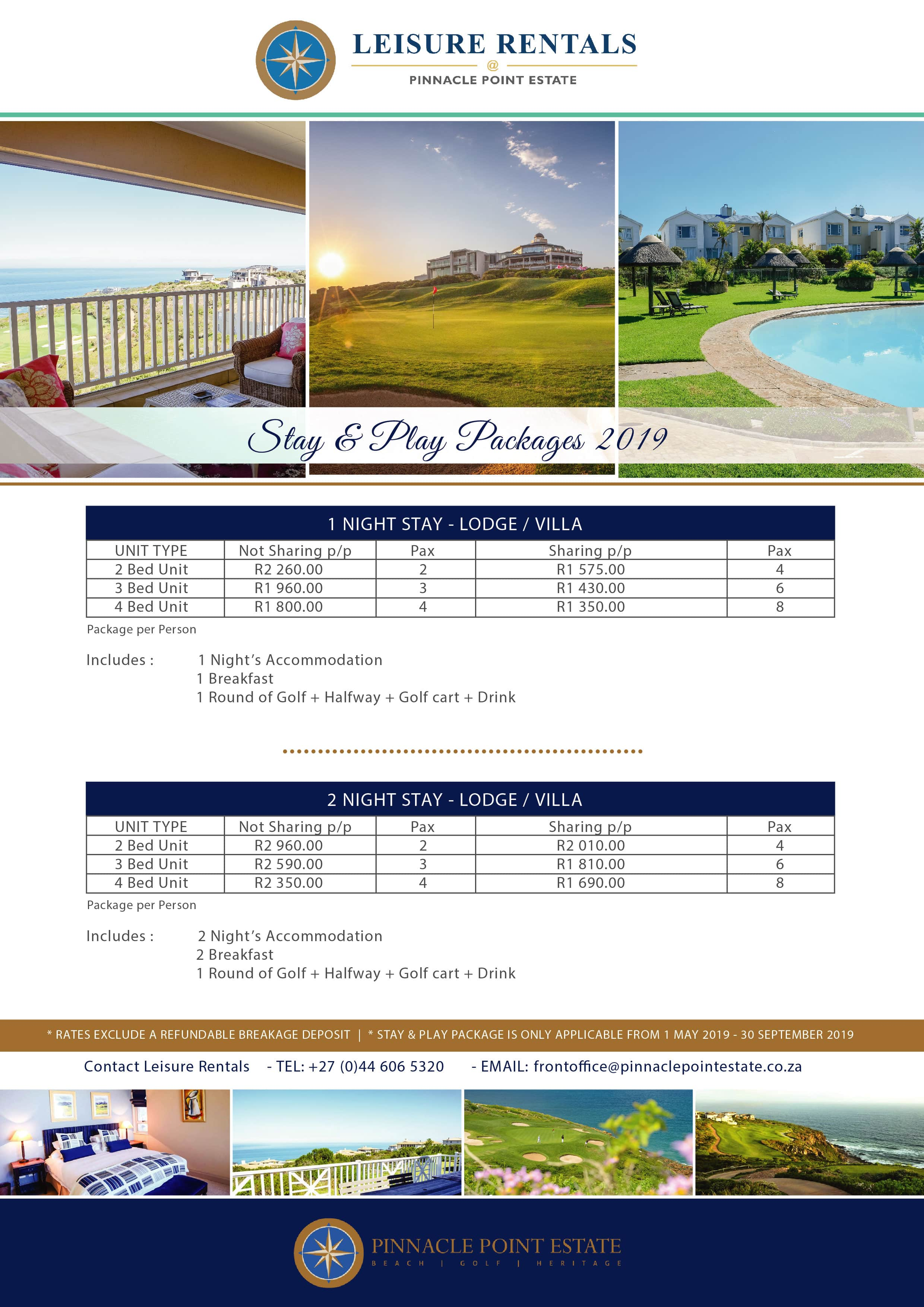 Leisure RentalsStay & Play- Package 2019-02