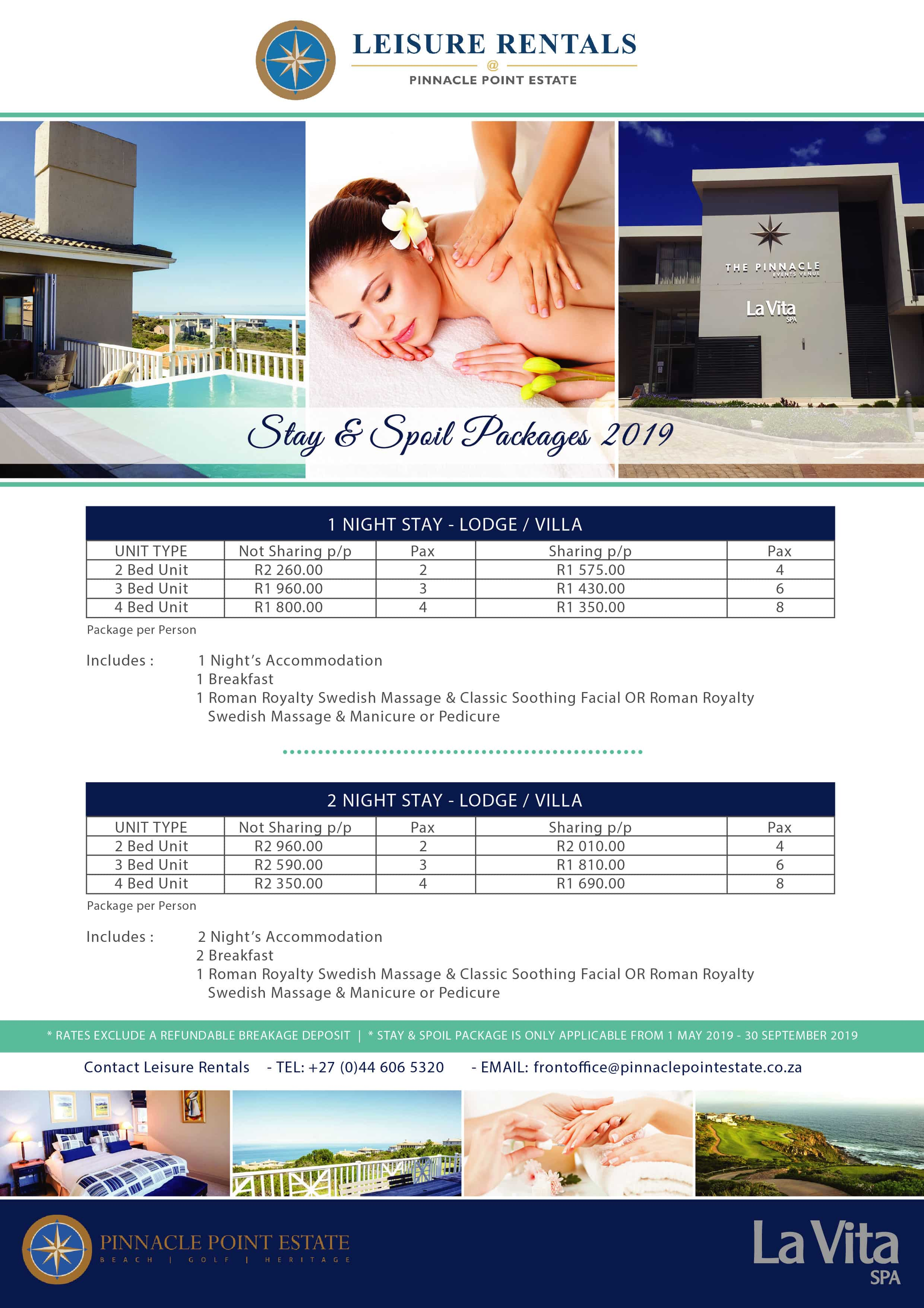 Leisure RentalsStay & Spoil- Package 2019-01